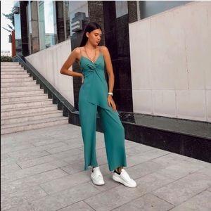 Zara teal bloggers fav jumpsuit